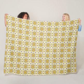 Black and Yellow  Print fleece blanket