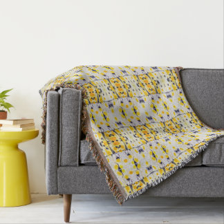Black and Yellow Print Throw Blanket