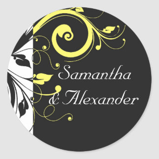 Black and Yellow Reverse Swirl Classic Round Sticker