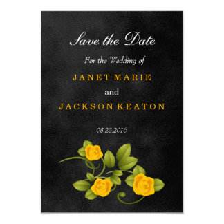 Black and Yellow Rose Wedding - Save the Date Card
