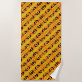 Black And Yellow Southwest Kokopelli Pattern Beach Towel