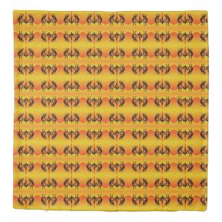 Black And Yellow Southwest Kokopelli Pattern Duvet Cover
