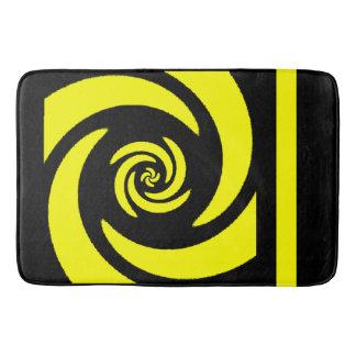 Black and Yellow Spiral Design Bath Mat