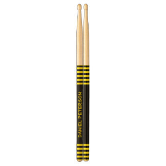 Black and Yellow Stripes Custom Name V10 Drumsticks