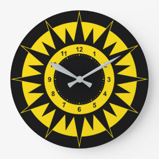 Black and Yellow Sun Large Clock