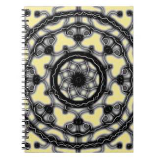 Black and Yellow Tech lace blossom ~ Spiral Notebook