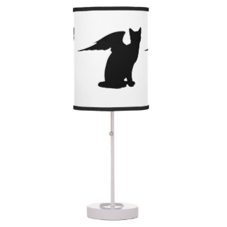 Black Angel Cat Desk Lamp