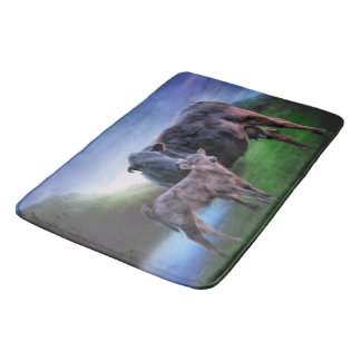 Black Angus Cow and Calf Bath Mat