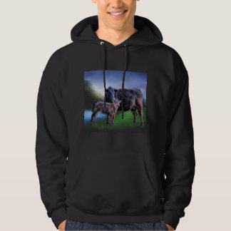 Black Angus Cow and Calf Hoodie