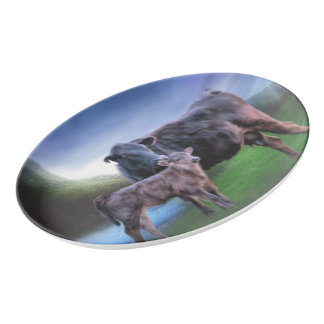Black Angus Cow and Calf Porcelain Serving Platter