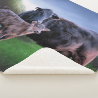 Black Angus Cow and Calf Sherpa Blanket