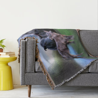 Black Angus Cow and Calf Throw Blanket