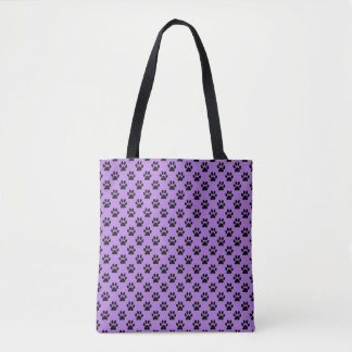 Black Animal Paw Prints on Lavender Purple Tote Bag