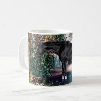 Black Appaloosa Horse Waterfall Background Coffee Mug