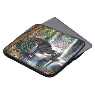 Black Appaloosa Horse Waterfall Print Laptop Sleeve