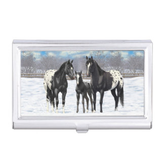 Black Appaloosa Horses In Snow Business Card Holder