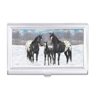 Black Appaloosa Horses In Snow Business Card Holders