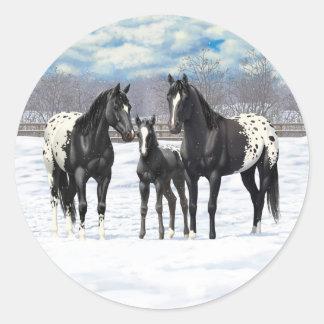 Black Appaloosa Horses In Snow Classic Round Sticker