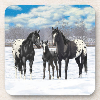 Black Appaloosa Horses In Snow Coaster