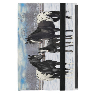Black Appaloosa Horses In Snow Cover For iPad Mini