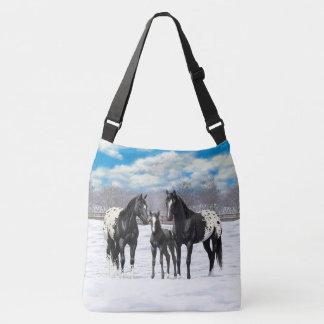 Black Appaloosa Horses In Snow Crossbody Bag