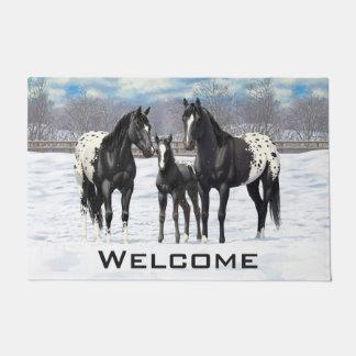 Black Appaloosa Horses In Snow Doormat