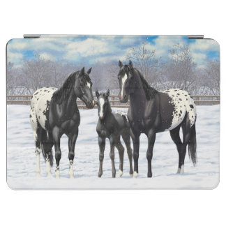 Black Appaloosa Horses In Snow iPad Air Cover