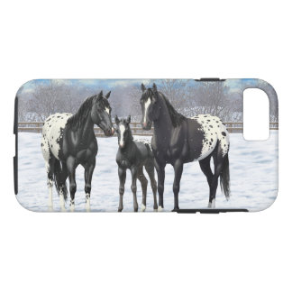 Black Appaloosa Horses In Snow iPhone 8/7 Case