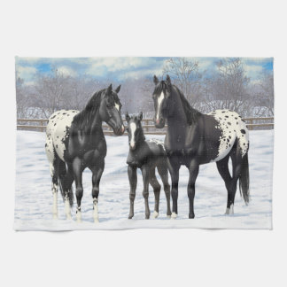 Black Appaloosa Horses In Snow Kitchen Towels