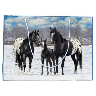 Black Appaloosa Horses In Snow Large Gift Bag