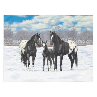 Black Appaloosa Horses In Snow Tablecloth