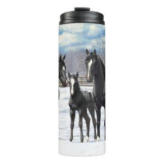 Black Appaloosa Horses In Snow Thermal Tumbler