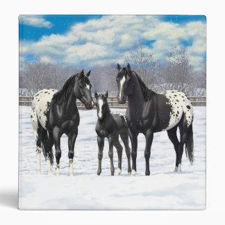 Black Appaloosa Horses In Snow Vinyl Binder