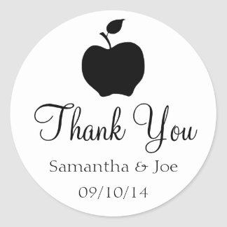 Black Apple Thank You Round Stickers