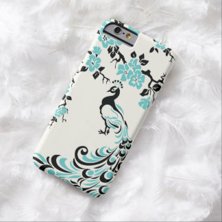 Black, aqua blue peacock & cherry blossoms barely there iPhone 6 case