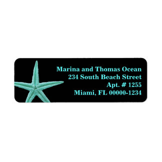 Black Aqua Blue Starfish Custom Address Labels