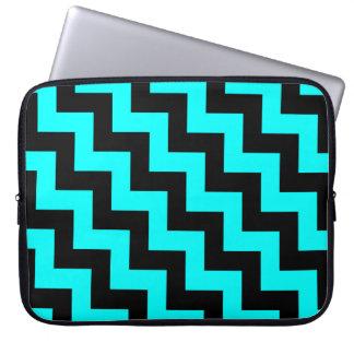 Black & Aqua Stair Step Pattern, Diagonal Zigzags Laptop Sleeve