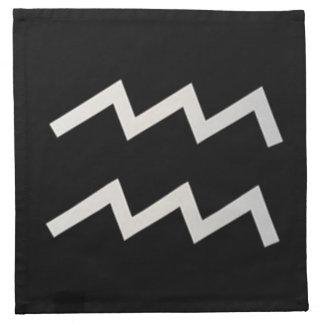 Black Aquarius 2 Zodiac January 20 - February 18 Napkins