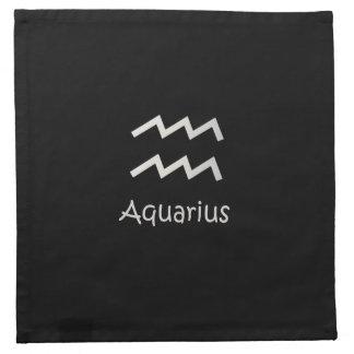 Black Aquarius Zodiac January 20 - February 18 Cloth Napkin