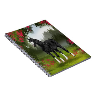 Black Arabian Horse in Spring Meadow Note Book