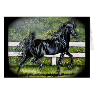 Black Arabian Horse Running Card
