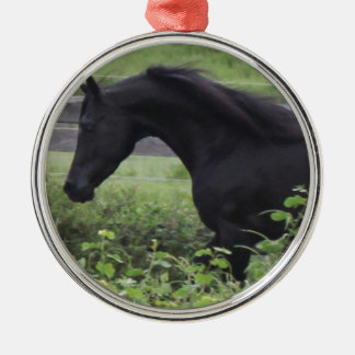 Black Arabian Stallion Silver-Colored Round Ornament