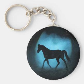 Black Arabian Stallion Square button key chain