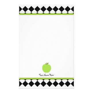 Black Argyle Green Apple Personalized Teacher Stationery