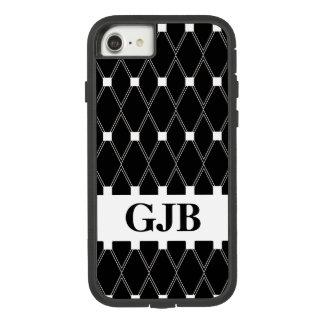 Black Argyle Lattice with monogram Case-Mate Tough Extreme iPhone 8/7 Case