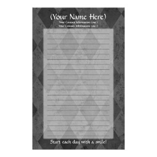 Black Argyle Personal Stationery