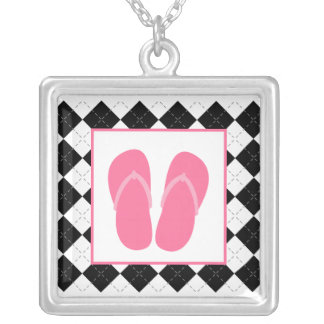 Black Argyle / Pink Flip Flops Necklace