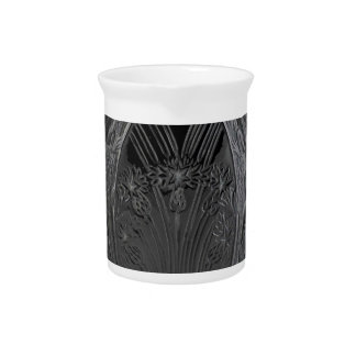Black Art Deco Glass Lizard Vase Drink Pitchers