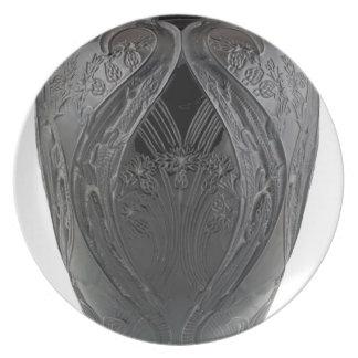 Black Art Deco Glass Lizard Vase Party Plate