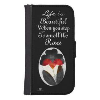 Black Art Flowers Life Is Beautiful Samsung S4 Wallet Case